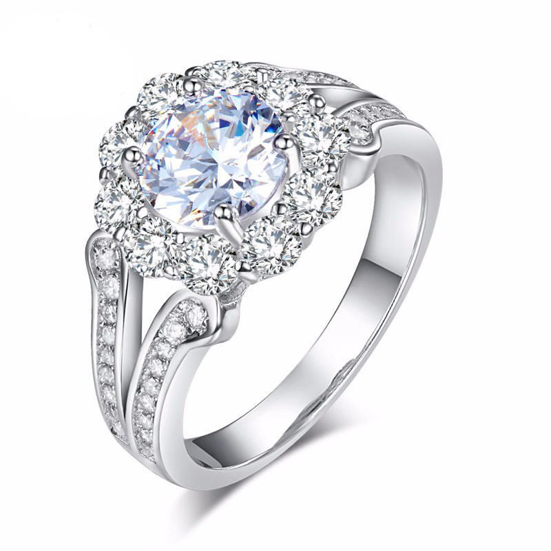 Round Brilliant Vintage Style 925 Sterling Silver Wedding Ring (3)
