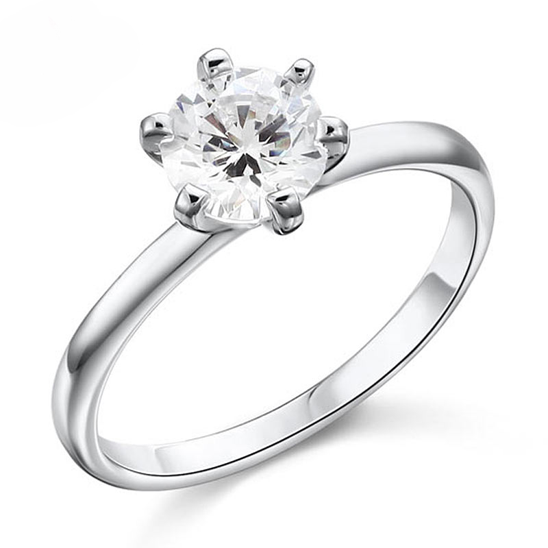 Solitaire Engagement Ring Round Cut 1 Carat Engagement Ring (1)