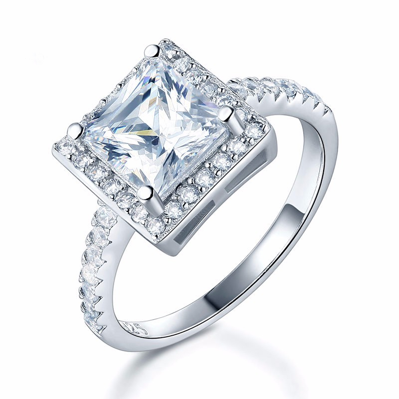 Solitaire With Accents Princess Cut 1.5 Carat Engagement Ring (3)