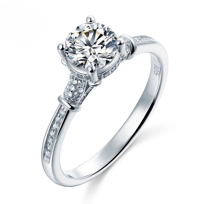 Solitaire With Accents Round Brilliant Cut 1 Carat Engagement Ring (3)