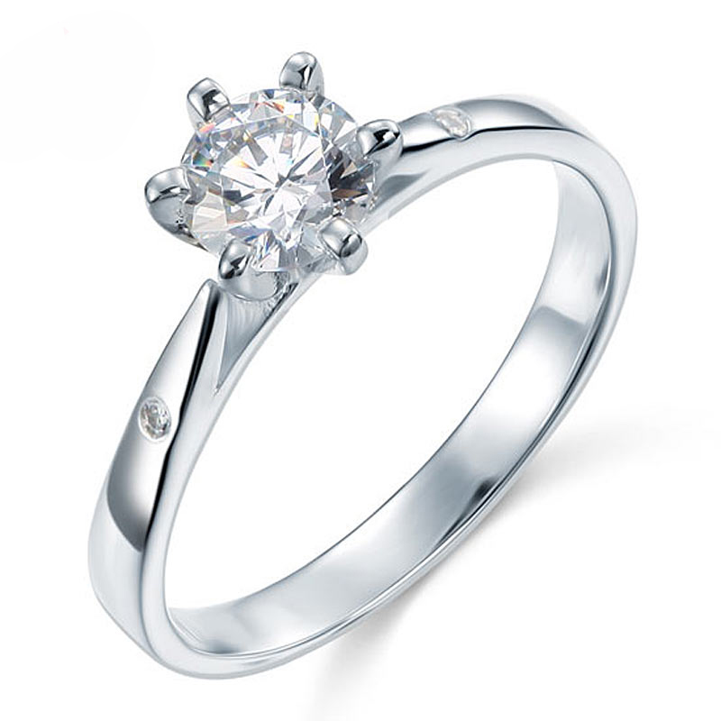 Solitaire With Accents Round Cut 0.8 Carat Engagement Ring (1)