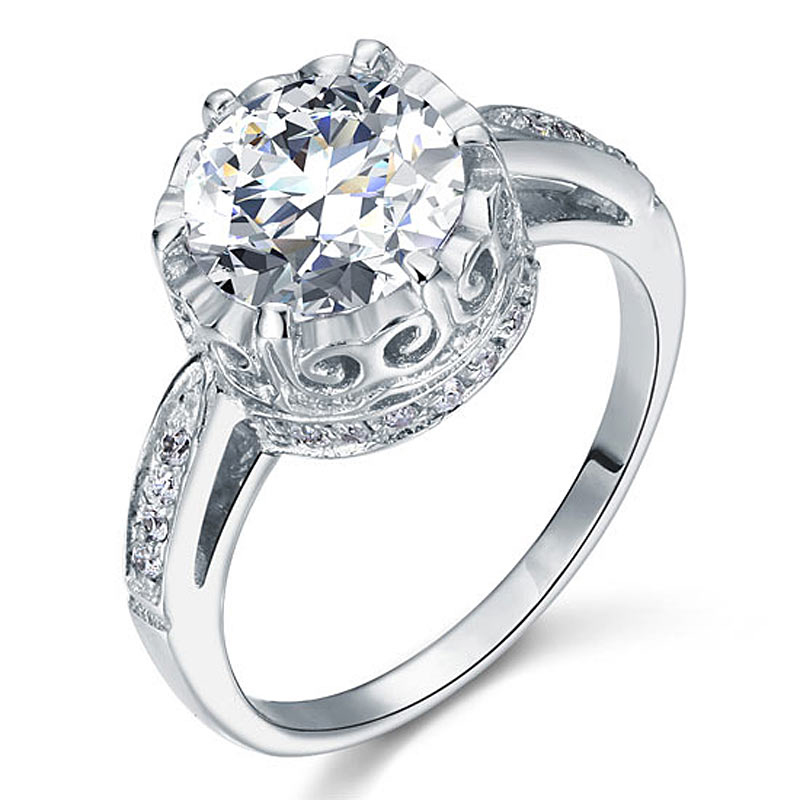 Vintage Style Round Cut 2.5 Carat Diamante Engagement Ring (3)
